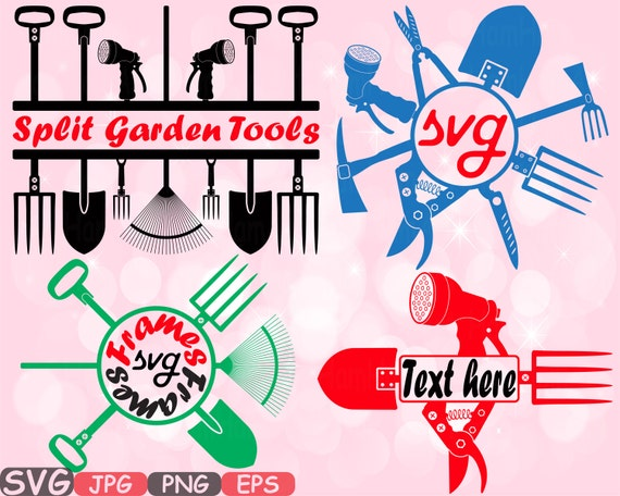 Split Amp Circle Garden Tools Silhouette Svg Set Of