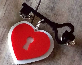 Vintage Valentine Heart & Key Brooch