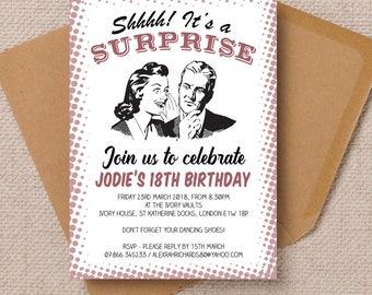 Personalised Ladies Womens Retro Suprise Shhh Milestone Birthday Anniversary Party Invitations & Envelopes