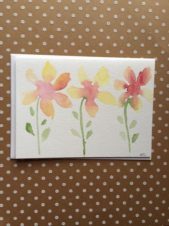 Watercolor Flower Card, Hand Painted Flower Card, Original Card, Homemade Card