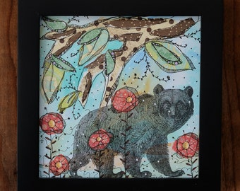 "Beatrice the Bear-Framed 6x6"" Mixed Media Collage Painting, bear"