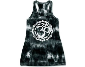 Om Mandala Tie Dye Tank Dress Racerback Dress Hippie Bohemian Racerback Dress Hand Tie Dye Aum Hand Screen Print 100% Cotton Free Size