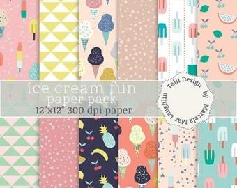 Ice Cream Digital Paper ICE CREAM FUN- Colorful ice cream cones ice pops frozen treats summer party fruits pineapple grapes lemon triangles