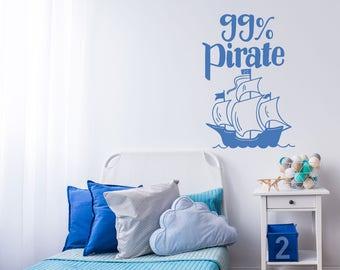99% Pirate Decal / Nursery Decal / Girls Room Decal / Boys Room Decal / Nursery Decor / Baby Decal