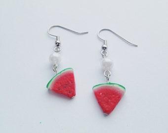 Watermelon Slice Charm Earrings