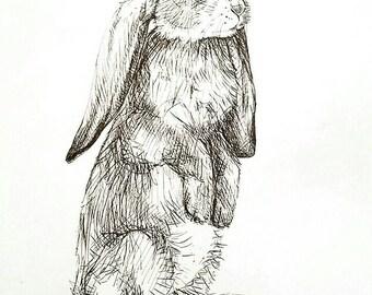 Rabbit, Pen & Ink Original Artwork on Drawing Paper