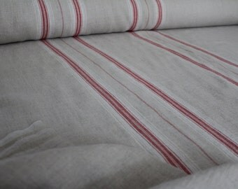 Linen fabric, premium linen,French style linen, Provance , natural red stripes , natural linen,softened linen