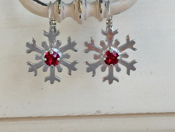 Ruby Crystal Snowflake Earrings, Silver