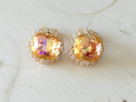 Swarovski Brandy & Clear Crystal Halo Clip On Earrings, Yellow Gold