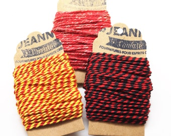 Kit 3 coupons cotton strings baker's twine, red-yellow, red-black, red and metallic thread, 3 x 10 m