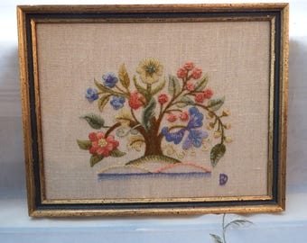 """Vintage Needlepoint Tree with Flowers Completed and Framed Pretty Shabby Chic Cottage Style Approx Size:  9 1/2"""" x 7 1/2"""""""