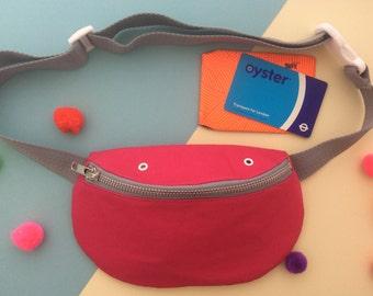 Pink bumbag, Fanny pack, Hip bag, Cotton canvas handmade silkscreen printed bag