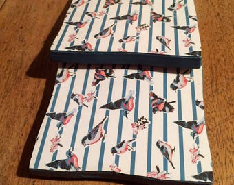 Recycled Handmade Ceramic Tile Coasters Set of Two Pink/Blue Bird Design