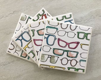 Eyeglass Coasters, Eyeglass Deor, Eyeglass Gift, Retro Coasters, Mod Coaster, Tile Coasters, Ceramic Coasters, Coasters, Coaster Set