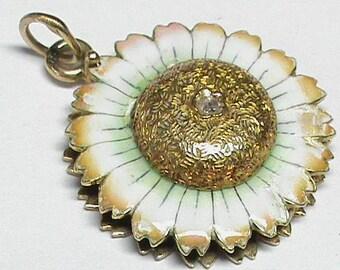 RESERVED For OB-Victorian 1900 15k Gold Enamel Diamond Flower Magnifying Glass Locket Pendant