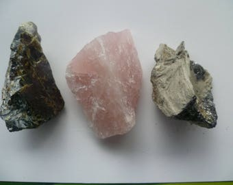 Raw Natural Crystals Set, Pink Quartz, Johansenite and Brawn-Green Sphalerite, Sizes 1,5 to 2 inches,