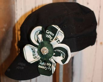 Michigan State Spartans MSU flower pin clip.  Hat or hair accessory