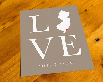 Ocean City, NJ - LOVE - Art Print  - Your Choice of Size & Color!