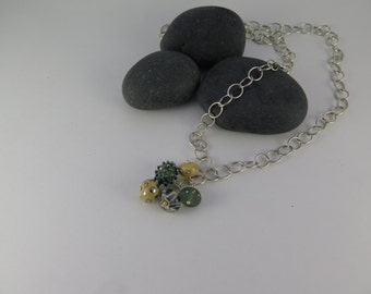 Sterling Silver Chain with Hand Crafted Glass Beads