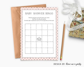 Pink Silver Baby Shower Bingo , Princess Baby Shower Bingo , Bingo Cards , Pink Silver Bingo , Baby Shower Game , Printable , Download