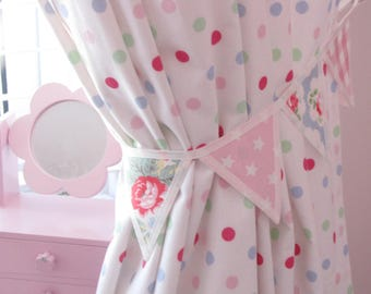 A pair of Cath Kidston Fabric Bunting Trailing Floral, Provence Rose Blue, Pink New Star, Laura Ashley Gingham, Gift, Handcrafted Room Decor