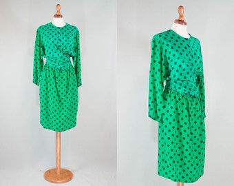 Polka Dot Vintage Dress / 80s Formal polka dot green & black / pure silk eighties dress / Dress 80s Prom Dress