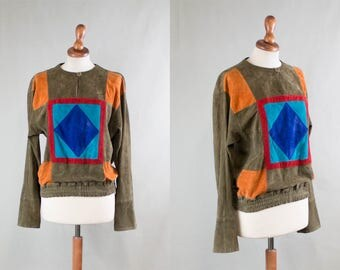 vintage suede shirt / 1980s color suede shirt / suede leather blouse / blue brown orange coachella / leather patchwork eighties / size S M