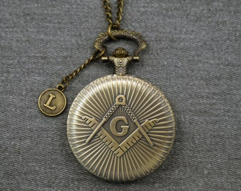 Antique Bronze Plated Alloy Big Freemasonry Pocket Watch Masonic Watch Fob Large Round Carved Mens Pocket Watch Pendant 46mm -Gifts -P664