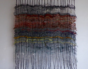 wide weave \\ wall hanging // light woven piece \\ interior furnishings // handwoven art