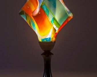 Art Deco table lamp, fused glass lamp, unique table lamp, art glass lighting, contemporary lighting