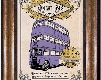 Knight Bus - Harry Potter - Vintage Style Poster - Multiple Sizes 5x7, 8x10, 11x14, 16x20, 18x24, 20x24, 24x36