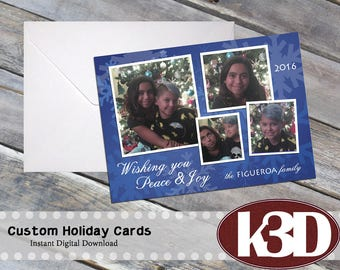 CUSTOM Photo Holiday Cards, CUSTOM Photo Christmas Cards. Personalized. Made to order. 5x7 inches.