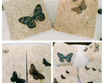 Natural Stone Butterfly Coaster