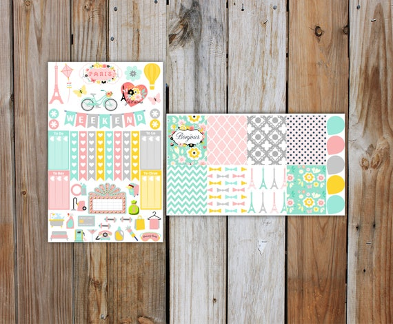 Summer in Paris Planner Sticker MINI Kit | Summer Planner Stickers Kit for use with ERIN CONDREN Life Planner