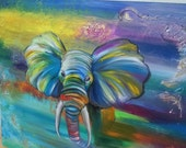 Elephant Art Colored Original Oil Painting on Canvas Colorful Home Decor Impressionist Multi-colored Elephant Oil Painting 20% discount