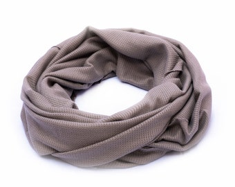 Khaki Solid Scarf With Waffle Pattern. Fashion Versatile Shawl Wear As Scarf, Shawl, Crisscross Or Shrug. Infinity Scarf, Casual Loop Sacrf