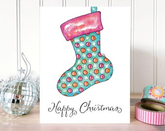 CHRISTMAS CARD: Happy Christmas Stocking Card. Whimsical Holiday Card. Happy Holidays Card. Folded Greeting Card. Hand Drawn Christmas Card