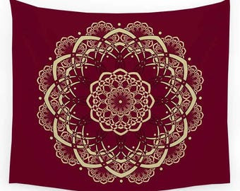 Burgundy Tapestry, Mandala Tapestry, Red Tapestry, Wall Tapestry Hanging, Bohemian Decor, Boho Tapestry, Sofa Throw, Red Bedspread