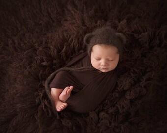 Mohair Bear Bonnet, Knit Baby Hat, Cub, Mohair Hat, Newborn Hand Knitted Cap, Infant Photo, Mohair and Silk bonnet, newborn size