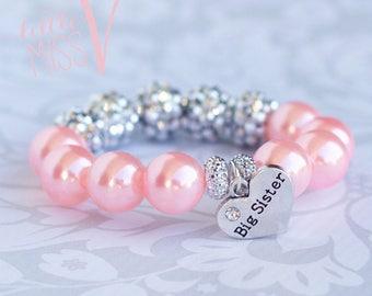 Super Sparkle Big Sister bracelet. Big sister gift. Little girl gift. Toddler bracelet. New baby gift. Big sister gift.