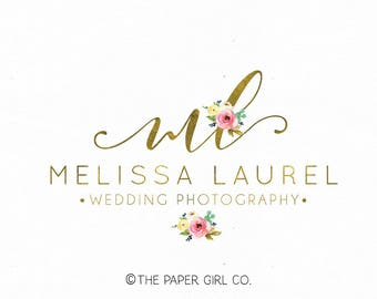 wedding logo florist logo floral logo flower logo event planner logo beauty logo watercolor logo make up logo nail art logo photography logo