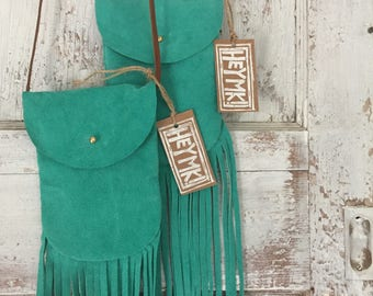 Boho Turquoise Fringe Crossbody Purse