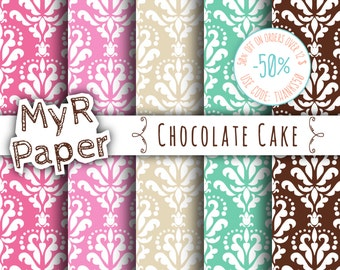 "SALE 50% Damask Digital Paper: ""A Chocolate Cake"" Pack of Backgrounds in Pink, Brown, Fuchsia, Aquamarine & Beige - digital paper sale"
