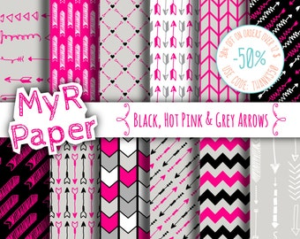 """Arrow digital paper: """"Black, Hot Pink & Grey Arrows"""" digital paper pack of backgrounds with arrows, chevrons and zig zag"""
