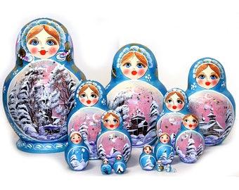 Nesting dolls - Russian winter landscape - Winter forest - Flowers, blue kod324