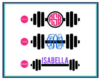 Barbell Monogram Decal- Barbell Name Decal- Barbell Fitness Decal- Monogram Decal- Barbell Car Decal- Laptop Decal- Yeti Decal- Weightlift