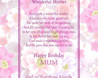 Personalised Mother's Birthday Print.