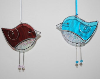 Stained Glass 3D Birds Maroon, Turquoise Iridescent 3D Stained Glass Bird Ornaments