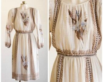 1970s pleated blouson dress