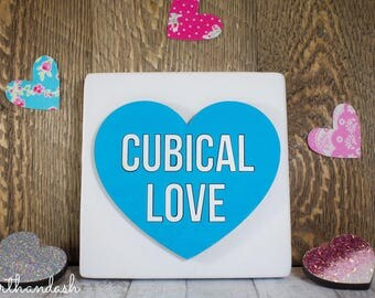 "Lasercut Conversation Heart ""Cubical Love"""